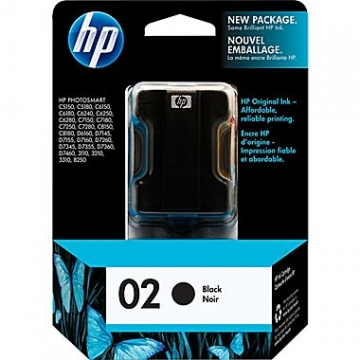 HP 02 BK OEM ORIGINAL BLACK INKJET CARTRIDGE-1